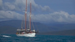 Ocean Yacht with Tourists, Slow Motion Stock Footage