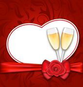 Celebration Card Heart Shaped for Happy Valentines Day Stock Illustration