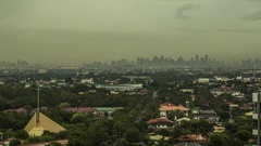 Manila: Skyline with Clouds and Traffic at Sunset Stock Footage