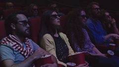 Watching 3D Movie Stock Footage