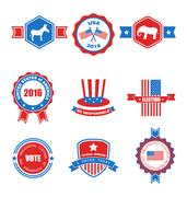 Set of Various Voting Graphics Objects and Labels, Emblems, Symbols Stock Illustration