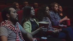 People Watching Thriller at Cinema Stock Footage