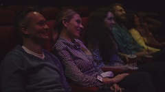 Wife and Husband in Movie Theater Stock Footage