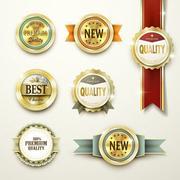 Premium quality gorgeous golden labels Stock Illustration