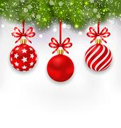 Wallpaper with Fir Twigs and Red Glassy Balls Stock Illustration