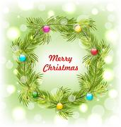 Christmas Wreath with Colorful Balls Stock Illustration