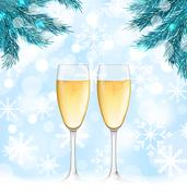 Winter Holiday Background with Glasses of Champagne Stock Illustration