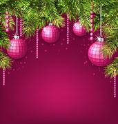 Pink Wallpaper with Fir Twigs and Glassy Balls Stock Illustration