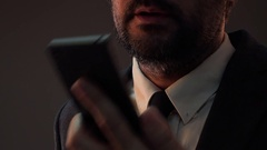 Worried anxious businessman talking on mobile phone Stock Footage