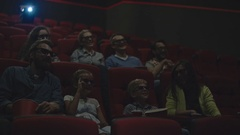 Parents and Kids Watching 3D Movie Stock Footage