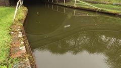 Tilting shot of Netherton canal tunnel entrance. Stock Footage