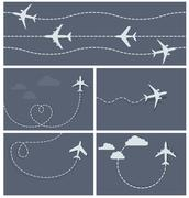Plane flight - dotted trace of the airplane, heart-shaped and loop Stock Illustration