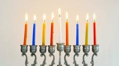 Time lapse - Silver Menorah with burning Hanukkah candles Stock Footage