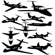 Silhouettes of private jet - contours of airplanes Piirros