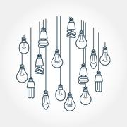 Circle of light bulb hanging on cords Stock Illustration