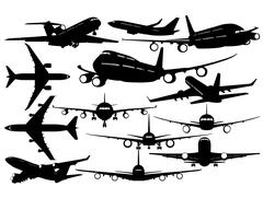 Silhouettes of passenger airliner - contours of airplanes Stock Illustration