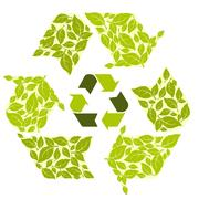 Conceptual recycling symbol with green leaves Stock Illustration