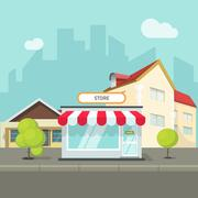 City landscape, houses and buildings vector, cityscape street shop town Piirros