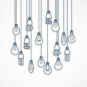 Light bulb hanging on cords - lamps Stock Illustration