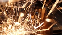 Industrial spark. circular saw cutting metal Stock Footage