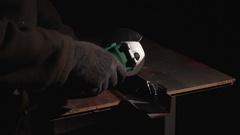 Worker cuts metal circular saw Stock Footage