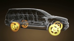 Loop car rotate. visible engine and gear transmission. wheels with glow Stock Footage