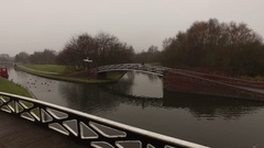 Dull and gloomy canal shot. Stock Footage