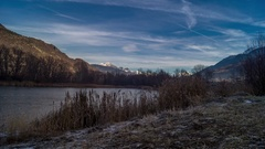Park with a frozen lake in the winter Stock Footage
