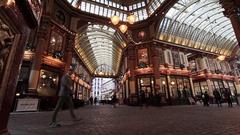 Interior of  Leadenhall market central London Stock Footage