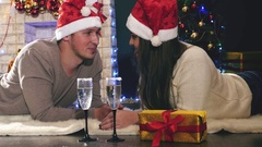Funny surprise at Christmas or New Year by Santa Claus Stock Footage