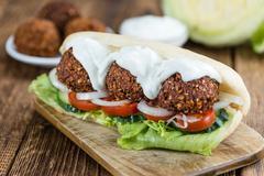 Fresh made Falafel Sandwich (close-up shot) Stock Photos
