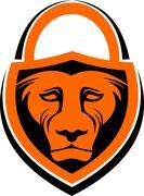 Logo lion lock Stock Illustration
