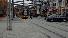 Tram rides on the street Stock Footage