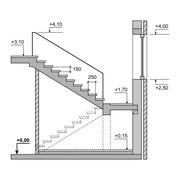 Draft Project Stairs on White Background. Vector Stock Illustration