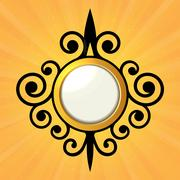 Blank Orange Sticker with Curled Border. Vector Stock Illustration