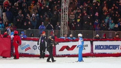 Cameramen shooting woman on World Cup Freestyle in Krylatskoye Stock Footage
