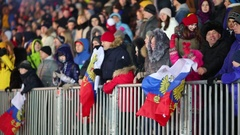 People with Russian flag dancing on frost near barrier Stock Footage