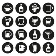 Drink and beverage icons set Stock Illustration