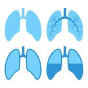 Human Lung Icons Set Stock Illustration