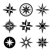 Compass and wind rose icons set. Stock Illustration