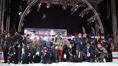 Company of journalists near scene in Krylatskoye on World Cup Freestyle Stock Footage