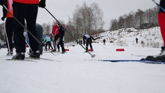 Ski of people running on path on Ski Track of Russia in Khimki. Stock Footage