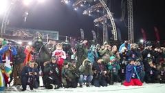 Group of journalists with photocamera shooting in stadium Krylatskoye Stock Footage