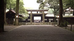 Tokyo, Japan - September 2016: Beautiful wooden Meiji shrine tori gate Stock Footage