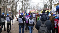 People with ski on path going to compete on Ski Track of Russia Stock Footage