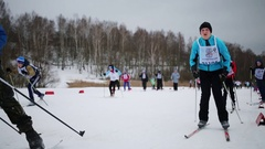 Young men with numbers on shirt going on Ski Track of Russia Stock Footage