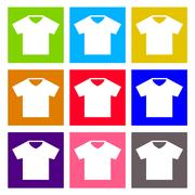 T-shirt sign icon. Clothes symbol. Round colourful buttons. Vector Stock Illustration
