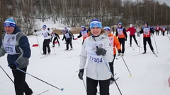 Smiling women, young men and children going on Ski Track of Russia Stock Footage
