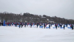 People getting ready to competition on field on Ski Track of Russia Stock Footage