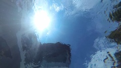 Water circles and shine of the sun from the bottom of the pool. Underwater view. Stock Footage